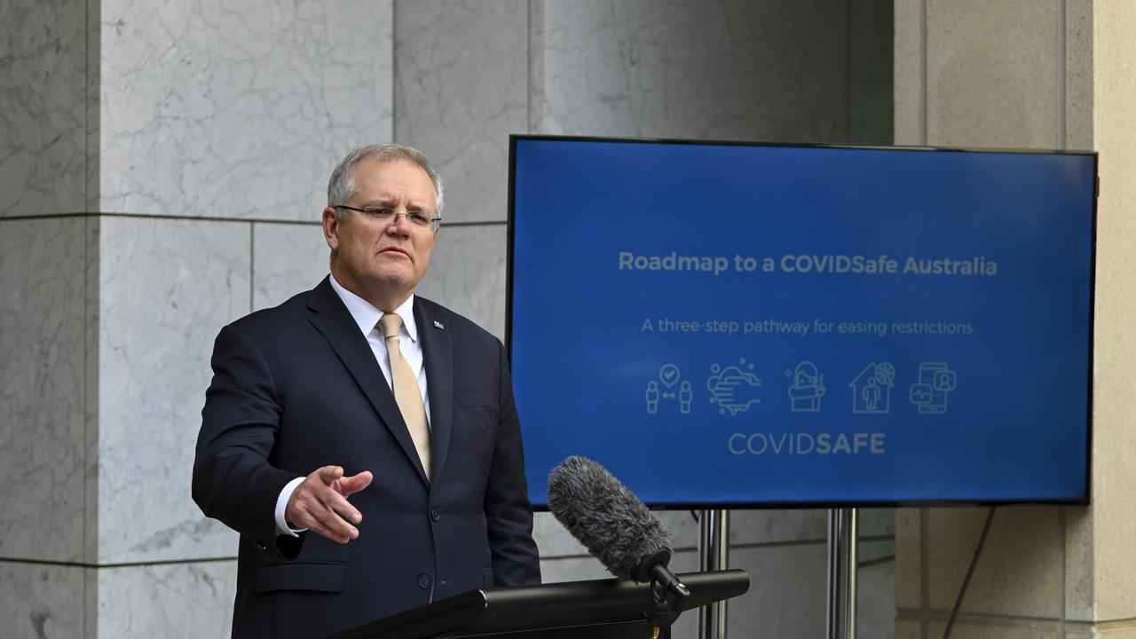 States and territories will begin lifting restrictions in coming weeks, following Prime Minister Scott Morrison's announcement on Friday of a three-step plan to reopen the nation. (AAP Image/Lukas Coch)