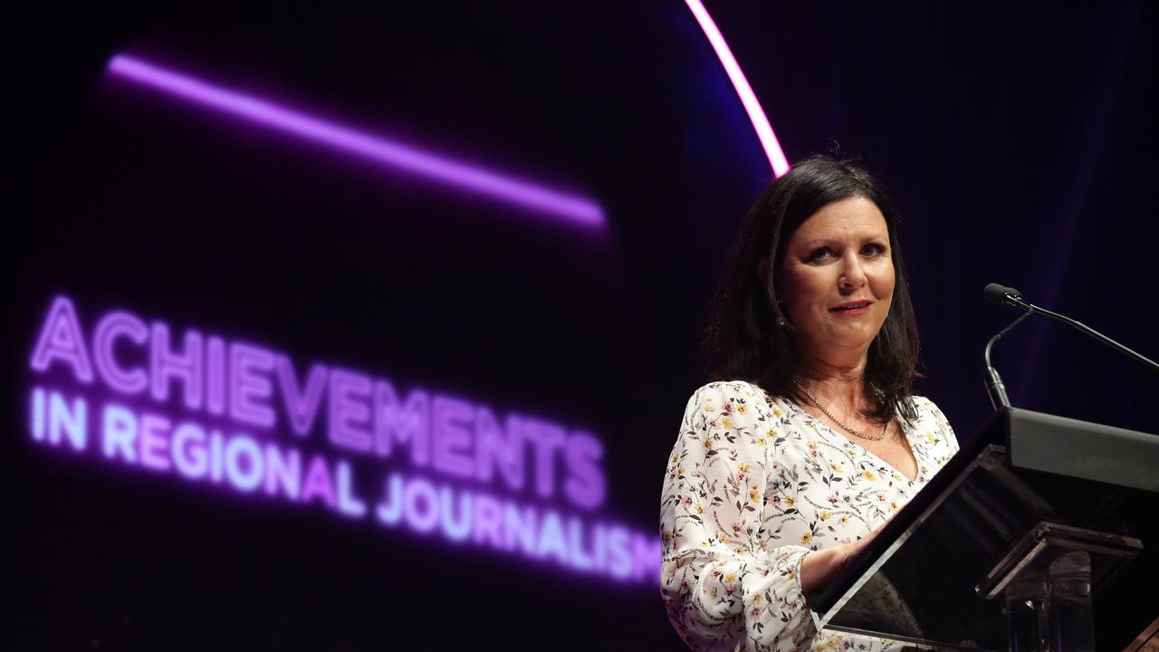 Shelley Strachan winner of Achievements in Regional Journalism at the News Awards, held at the Hyatt Regency, Sydney. Picture: Jonathan Ng