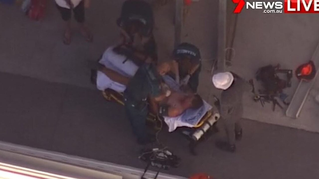 Two men have been injured after a reported scaffolding collapse at Kippa Ring. Supplied: 7 NEWS Brisbane