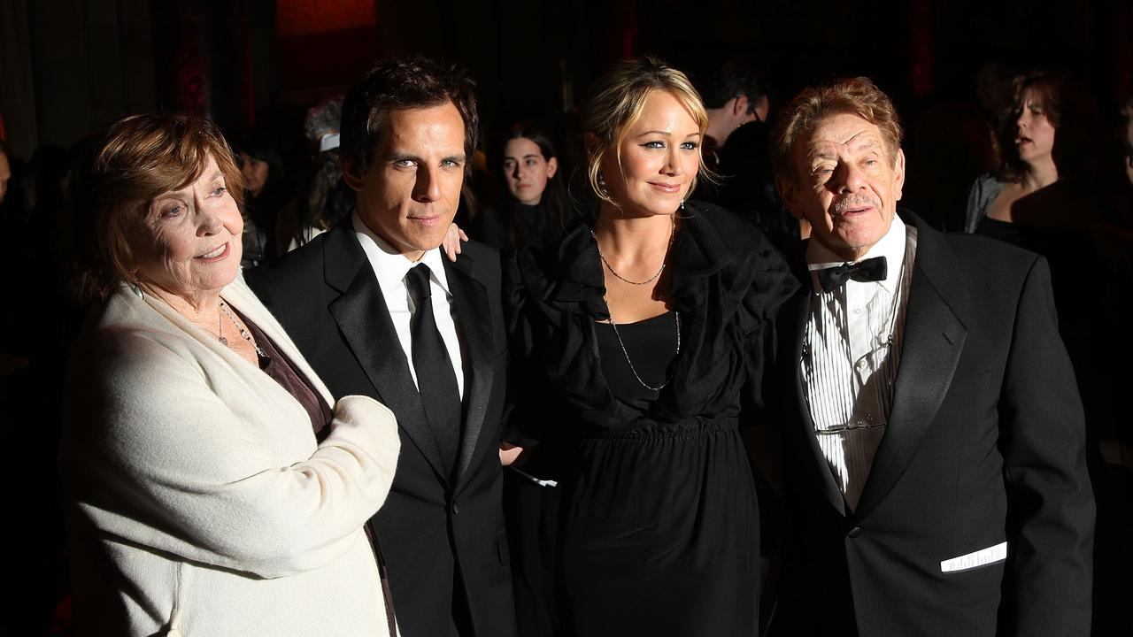 Anne Meara, Ben Stiller, Christine Taylor, and Jerry Stiller attending an event honoring Ben Stiller in 2008. Picture: Getty Images.