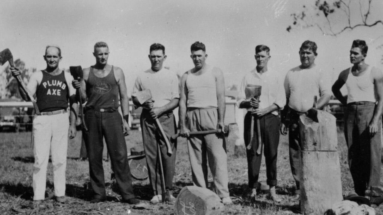 Group of Kingaroy axemen, Kumbia 1936.