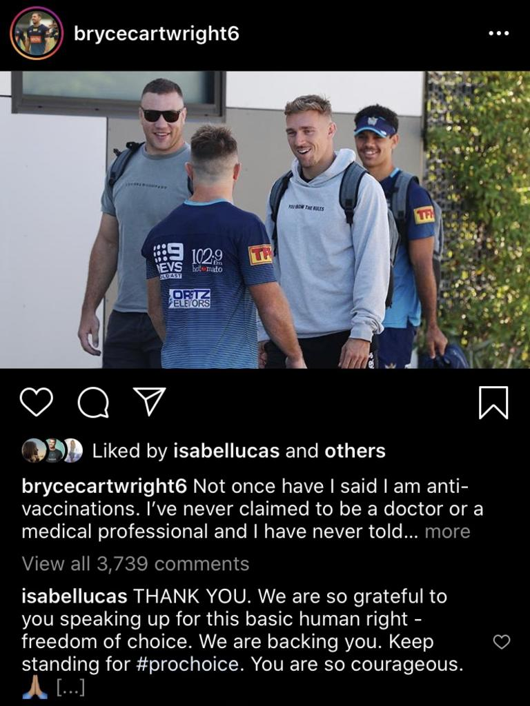 Isabel Lucas's comment on Bryce Cartwright's Instragm post.