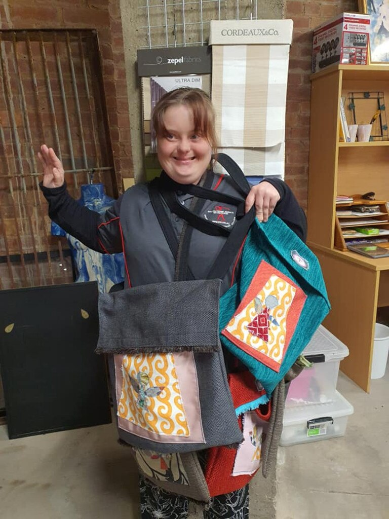 BAGS OF FUN: Sophie Bolton with some of her Angel 22 creations. Picture: Contributed