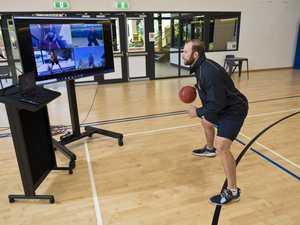 Basketball training keeps shooting
