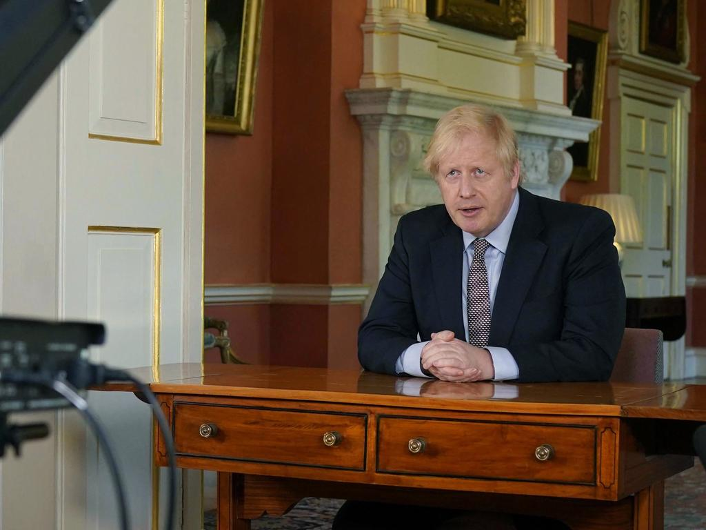 Britain's Prime Minister Boris Johnson delivers his address from Downing Street. Picture: Andrew Parsons/10 Downing Street via AP.