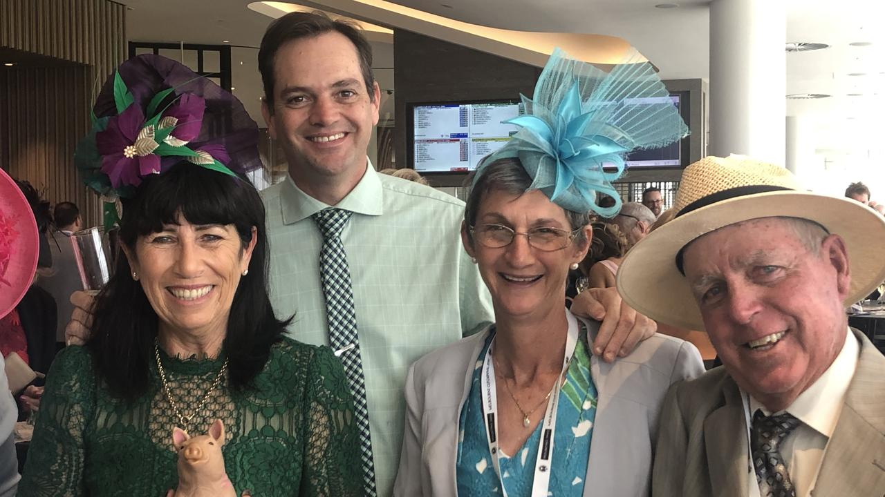 EXCITING TIMES: Members of Queensland Cup Colts - Emerald's Rae and Dan Fletcher and Springsure's Trudy and Bruce Roberts - pictured at Flemington, ready to cheer on their champion race horse Russian Camelot.