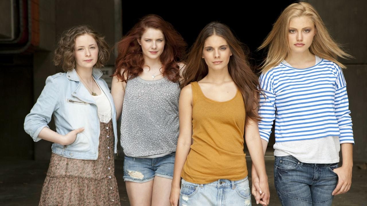 Actors (L-R) Ashleigh Cummings, Rachel Hurd-Wood, Caitlin Stasey and Phoebe Tonkin, the female cast from 2010 Australian film 'Tomorrow, When The War Began'.