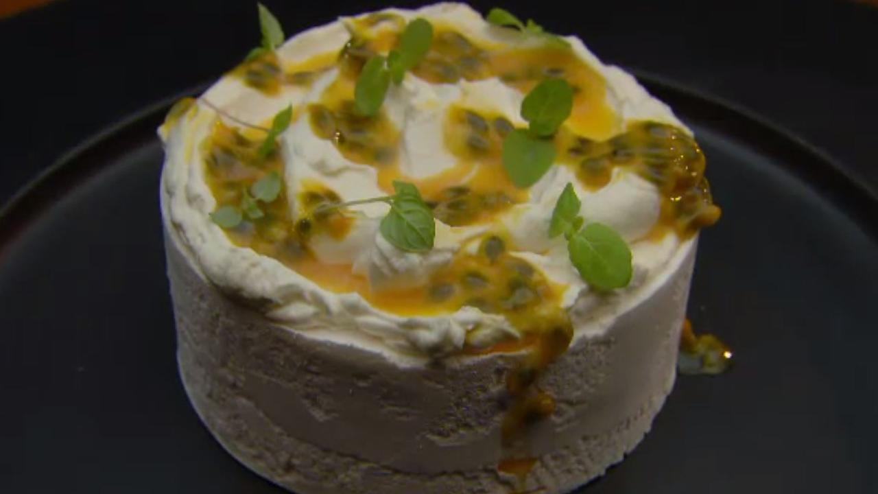 Purchese's unassuming meringue topped with cream and passionfruit was much more than meets the eye. Picture: Channel 10
