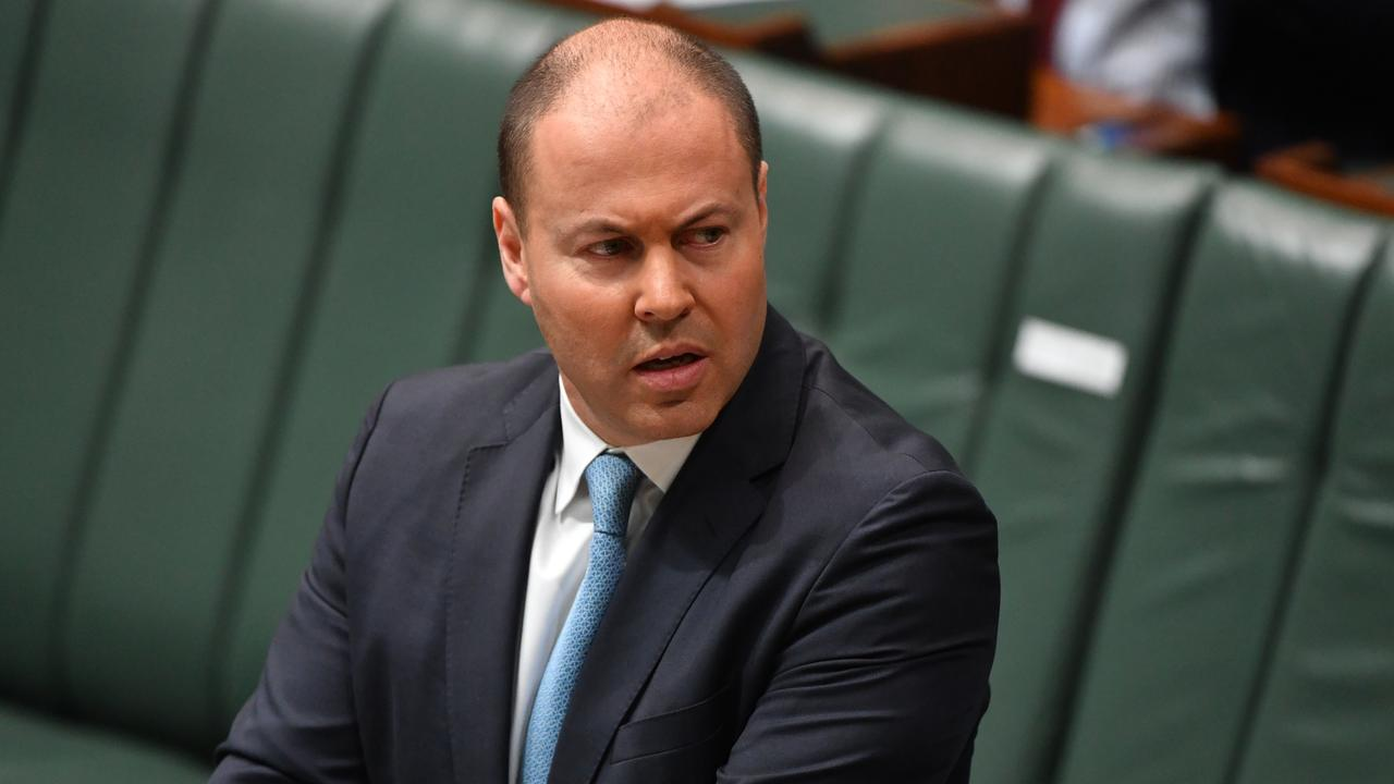 Treasurer Josh Frydenberg makes a ministerial statement. Picture: Mick Tsikas
