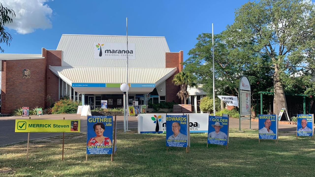 Maranoa Regional Council candidates corflutes erected at council grounds.