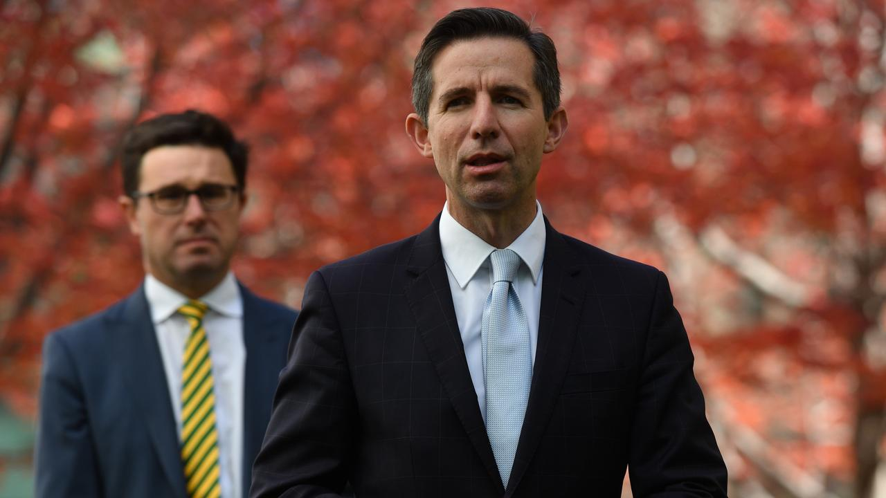 Trade Minister Simon Birmingham (front) with Agriculture Minister David Littleproud