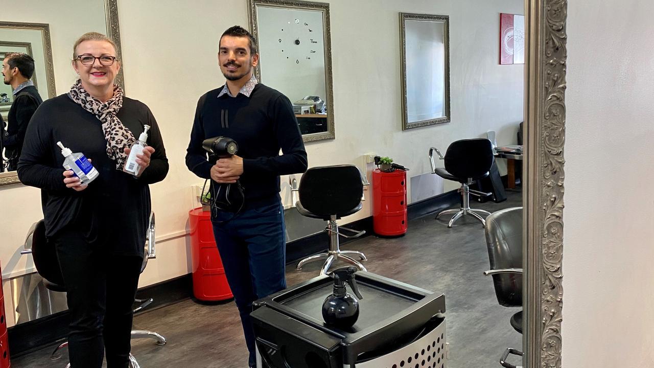 Mansara Hair owner Sara Burton with senior stylist Gavin Canu.