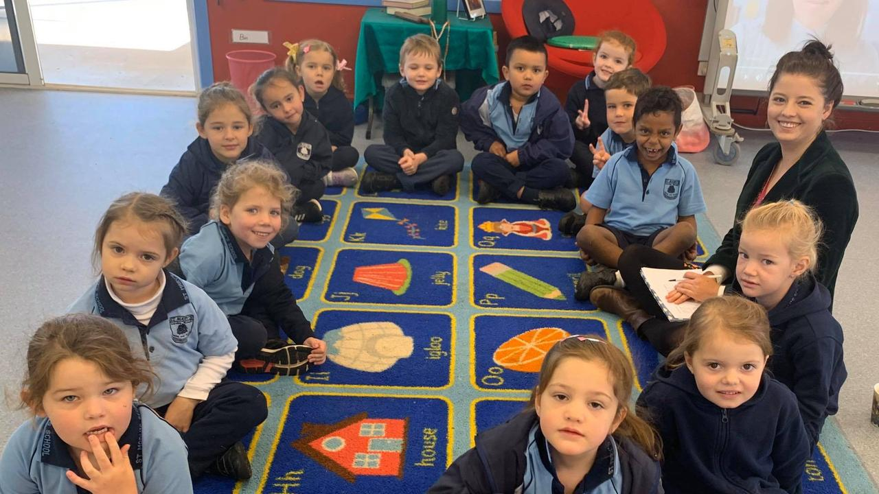 St Mary's prep students and teacher Kate Box returned to the classroom this week, much to the excitement of the whole school community.
