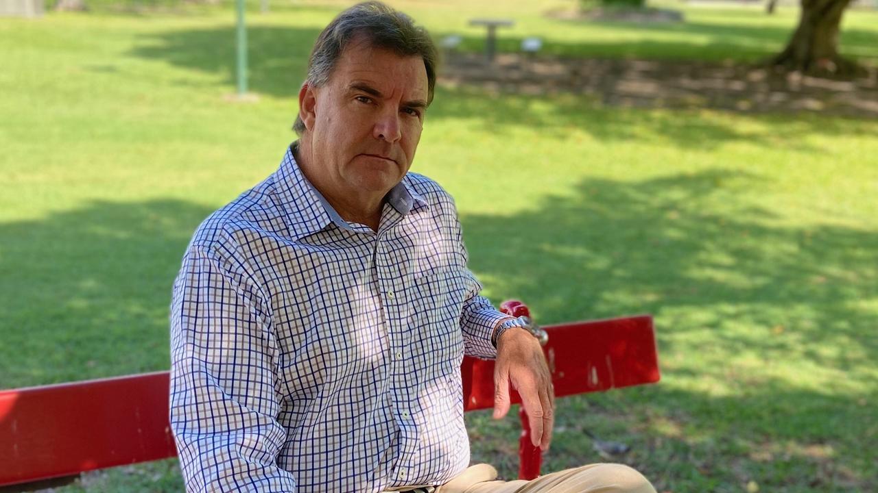 Burnett MP Stephen Bennett on the red bench at Alexandra Park.