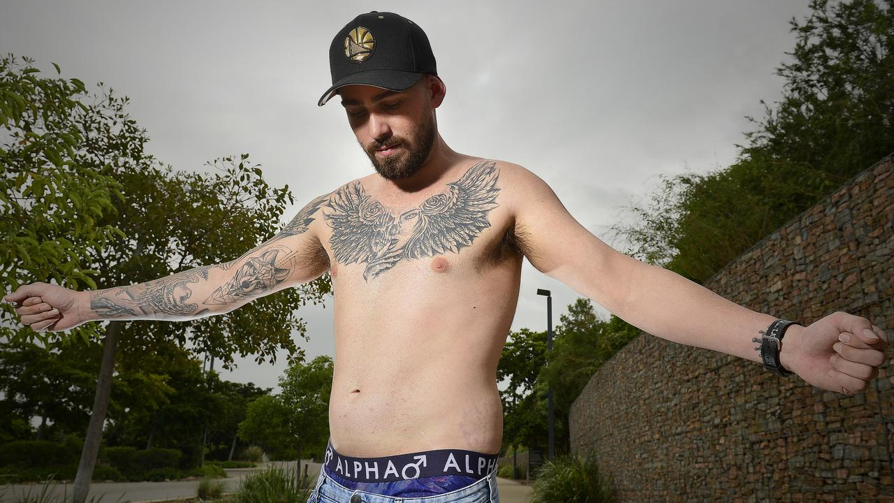 'The Human Billboard' Justin Mason wants to sell his body to businesses to advertise through tattoos at a price of $1K a year. PICTURE: MATT TAYLOR.