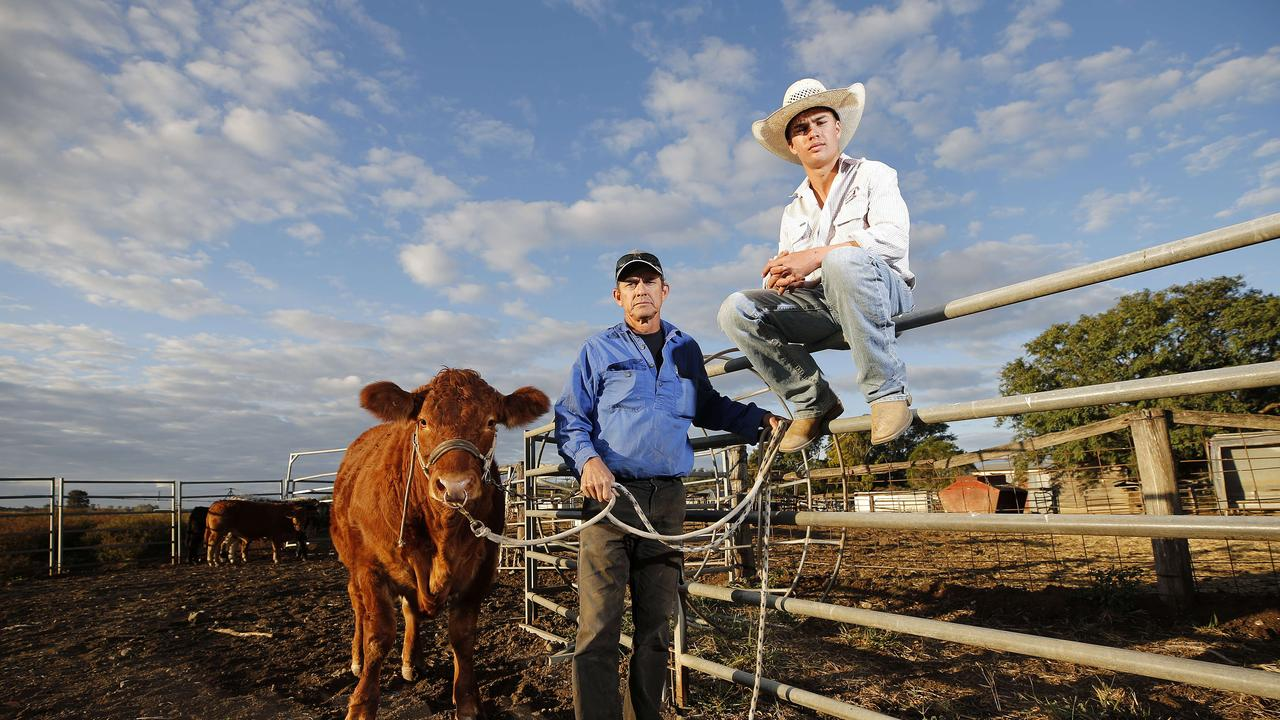 Beef cattle farmers Neil and Billy Goetsch at their property in Kalbar. Picture: Josh Woning/AAP