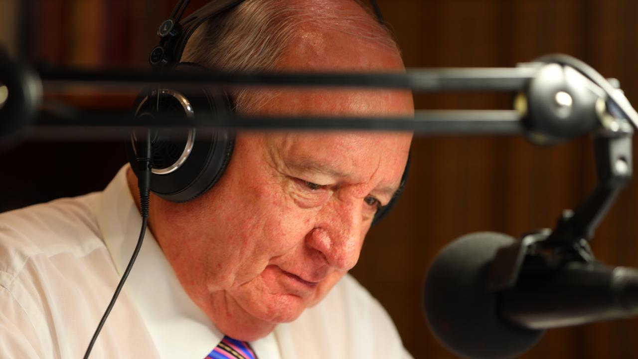Alan Jones announcing his retirement on Tuesday. Picture: Kris Durston.