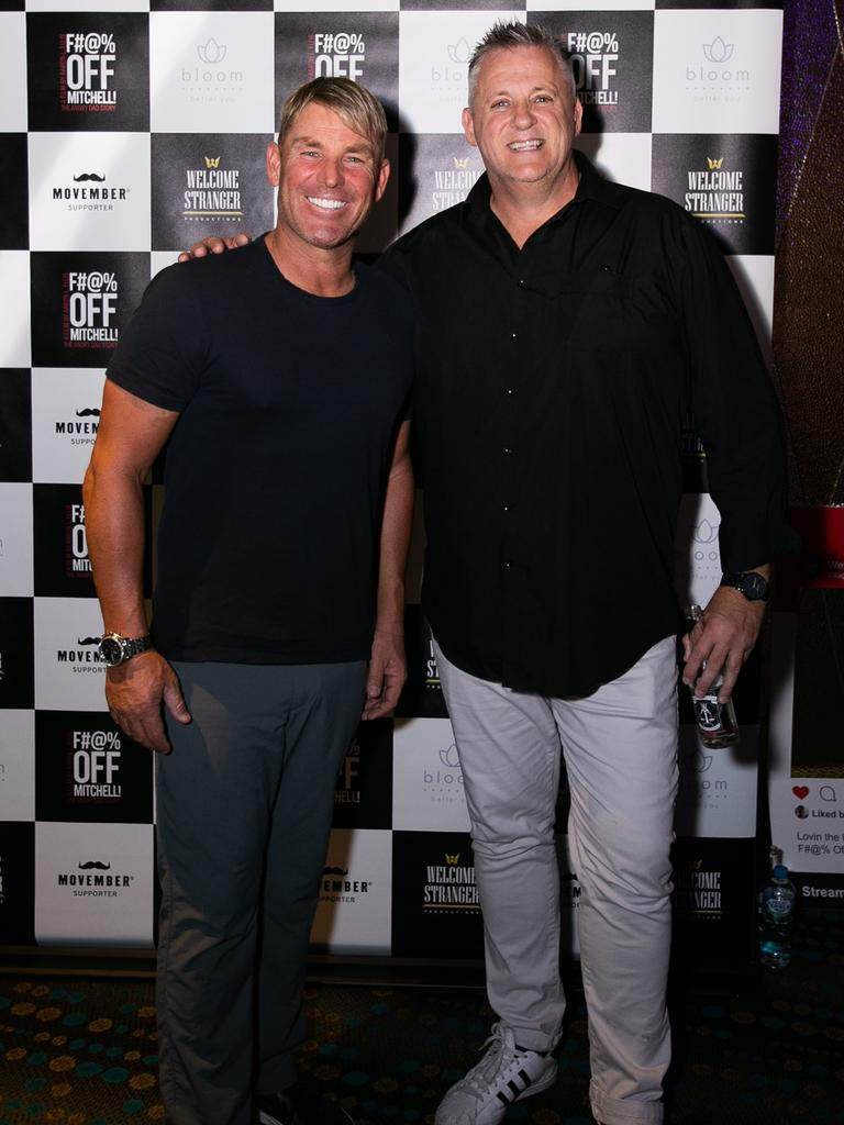 Shane Warne and Mark Orval aka Angry Dad. Pic: Nik Sfi / Royal Photography