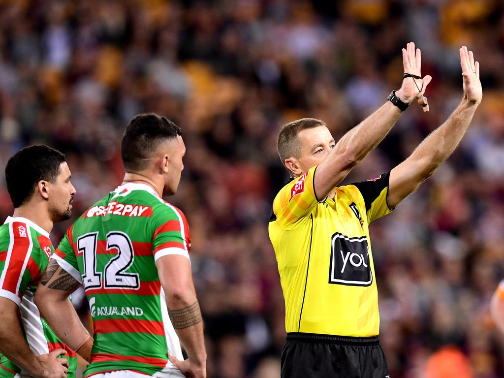 Jayden Su'a of the Rabbitohs is sent to the sin bin by referee Ben Cummins.
