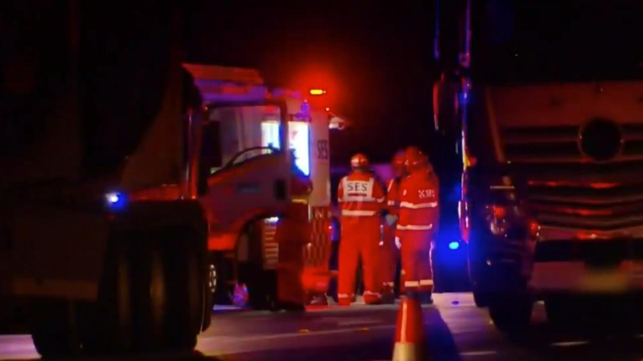 EMERGENCY SERVICES: Emergency Services including RFS Woodburn Brigade, SES, Police and Ambulance NSW attended the scene of an horrific crash where two men have died after being hit by a truck on the Pacific Highway in Woodburn, NSW. Picture: 9NEWS