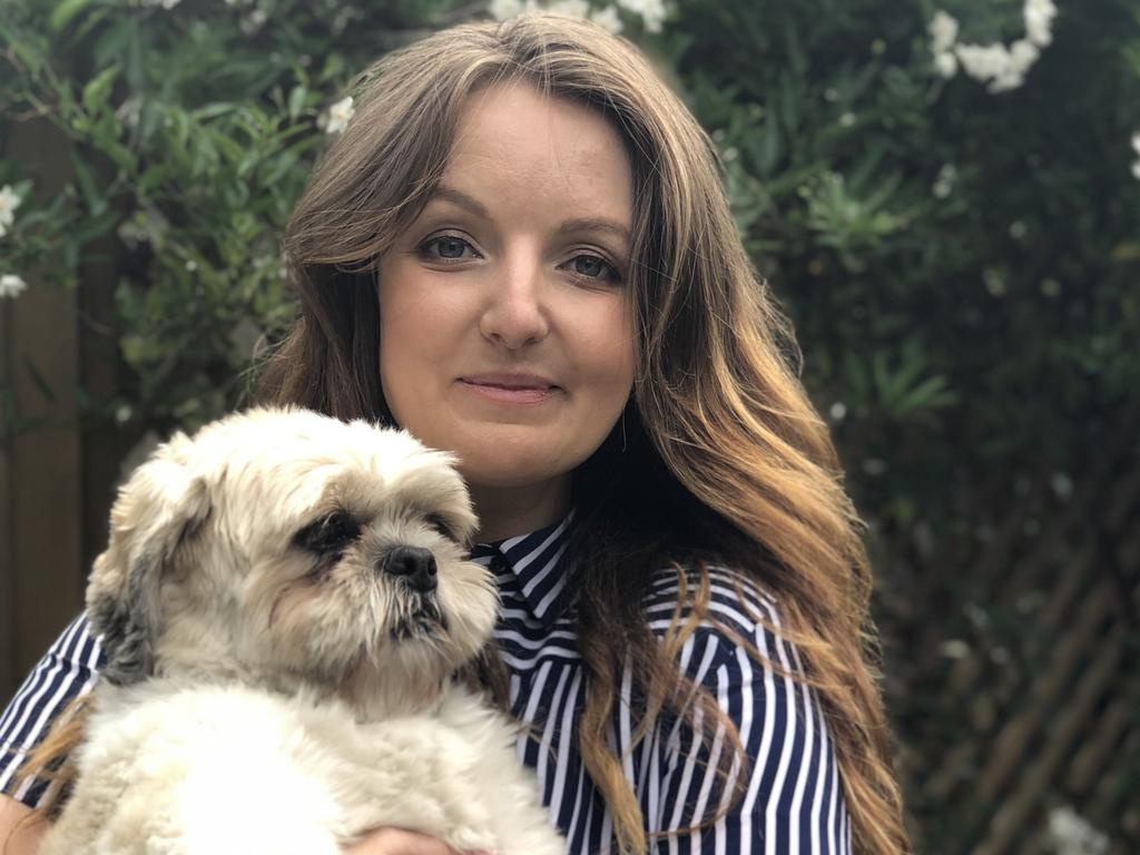 Kate Leaver with her three-year-old Shih tzu, Bert.