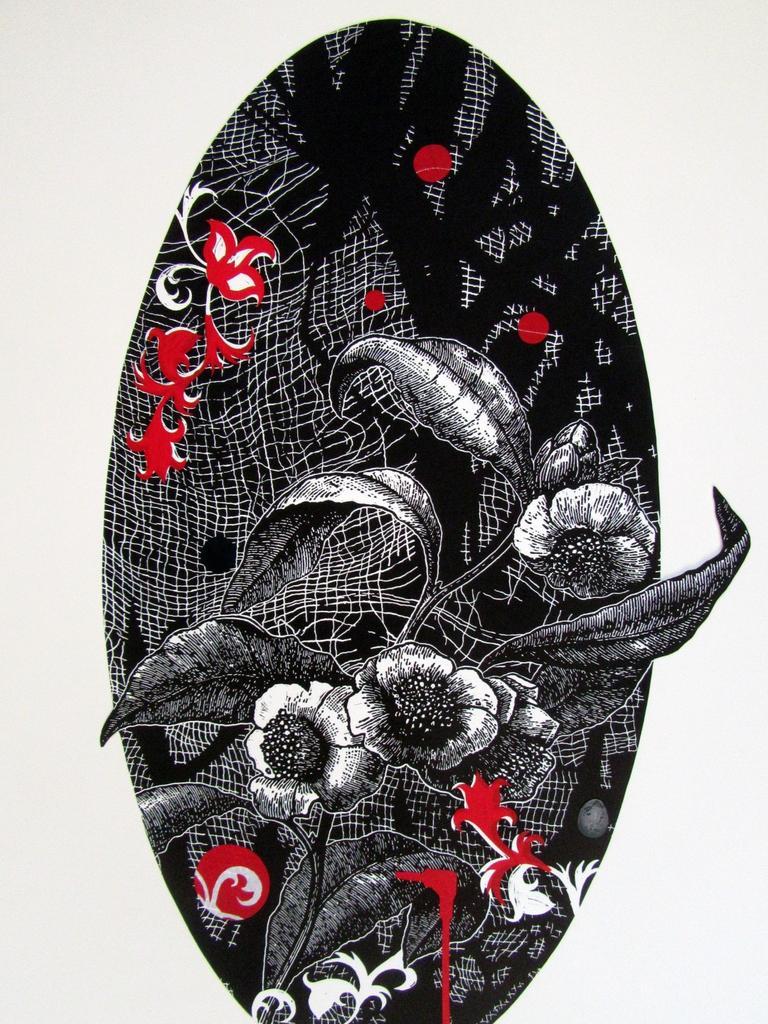 Jenny Kitchener, Border Art Prize $500 winner , Out of Kilter, 2019 framed linocut, collage, (unique print), 53 x 35cm. Picture: Supplied.