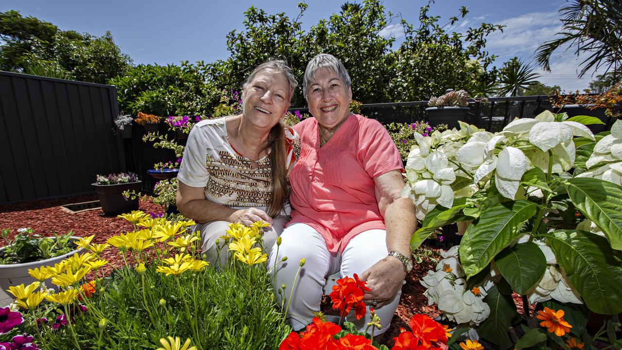 Garden Lovers - Original tenants at Momentum Collective's community housing property, Betty Noonan and Margaret Campbell, make sure they care for their neighbours by doing their gardens and putting out/cleaning their bins. Photo: Mel Belanic