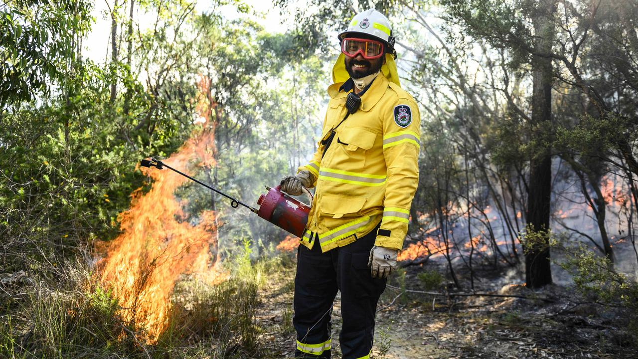Just 10 weeks after horror bushfires, fireys were back on the hose today, tasked with a mountainous 700ha hazard reduction burn north of Sydney.
