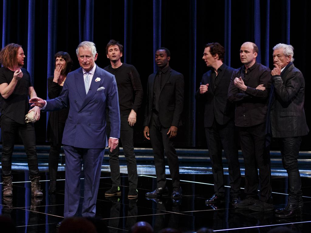 Rory Kinnear and Sir Ian McKellen (far right) on stage with Prince Charles. Picture: Getty Images