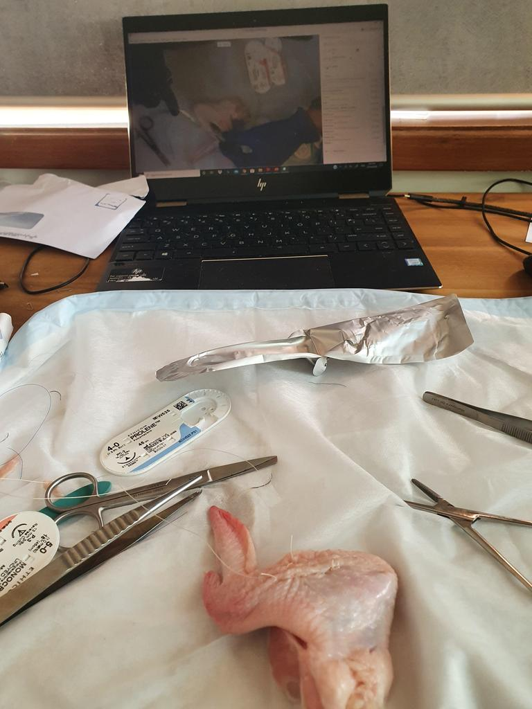 University of Wollongong students take part in a boot camp and practice skills such at suturing and cannulating on chicken legs and bananas.