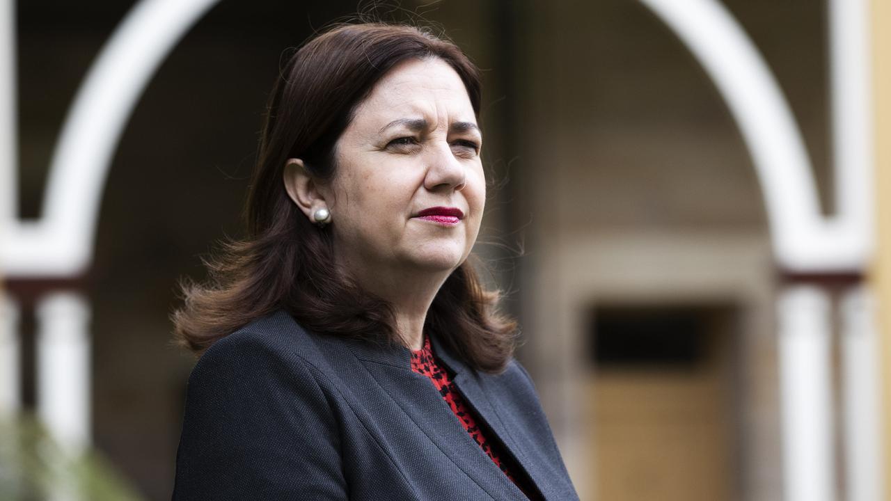 Premier Annastacia Palaszczuk addresses media at Queensland Parliament. Picture: News Corp/Attila Csaszar)