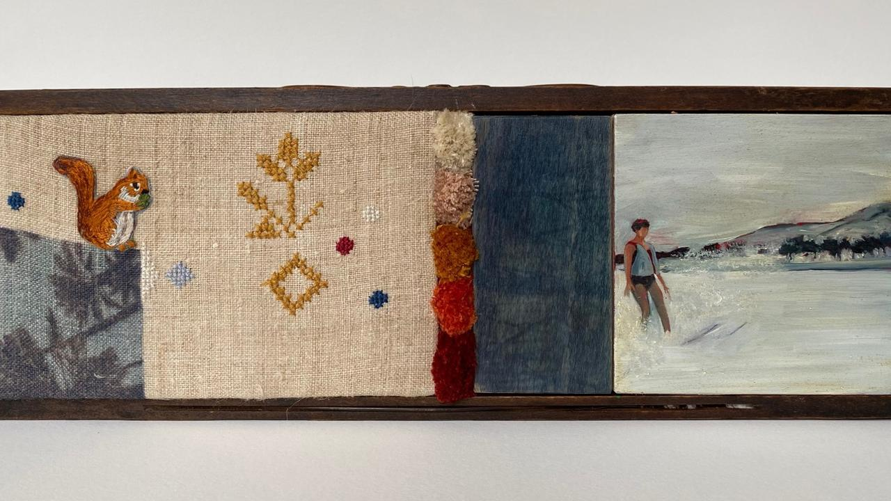 Oksana Waterfall, Border Art Prize 2020 $3000 winner, The girl from Kyiv 2020, oil, embroidery thread, vintage hemp fabric and solar print in vintage sewing machine drawer, 12 x 36cm. Picture: SUPPLIED