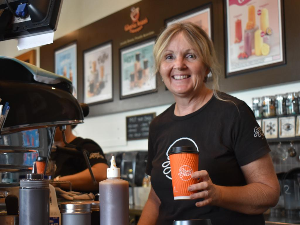 Gloria Jeans co-owner Gail Gipp all smiles that the business is open tomorrow 9am-3pm. Photo: Bec Singh