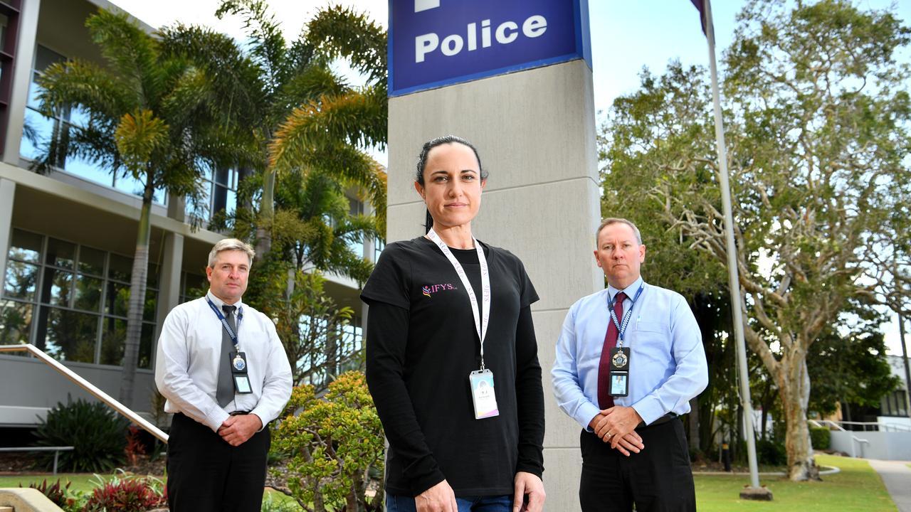 Detective Senior Sergeant Phil Hurst and Detective Senior Sergeant David Somerville with IFYS youth worker Krystle Brady. Photo: John McCutcheon / Sunshine Coast Daily