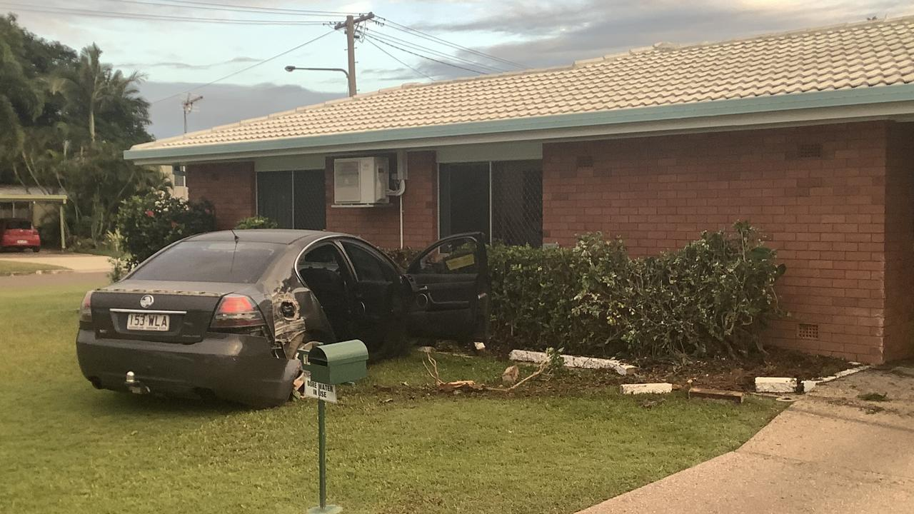 A stolen Holden Commodore crashed into a house at Tapiolas Ave, Kirwan.