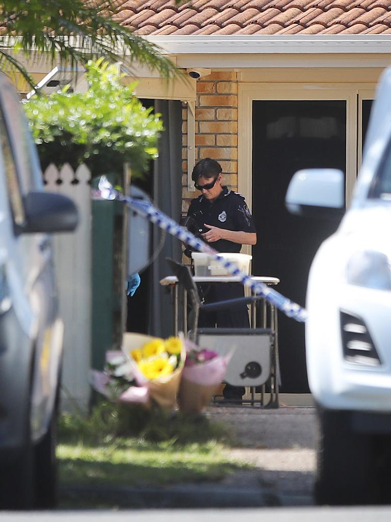 Flowers at the crime scene where Brisbane mother Jacqueline Sturgess was allegedly murdered by her estranged husband last month. Picture: News Corp
