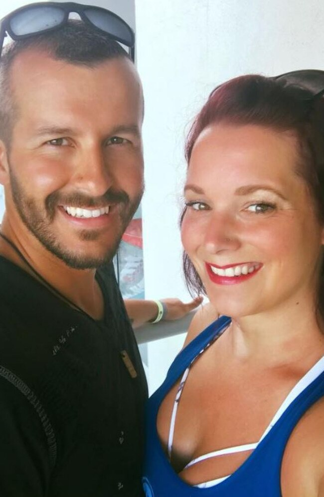 Chris Watts (left) is serving a life sentence for killing his pregnant wife Shanann, 34 (right) and two daughters, Bella, 4, and Celeste, 3. Picture: Supplied
