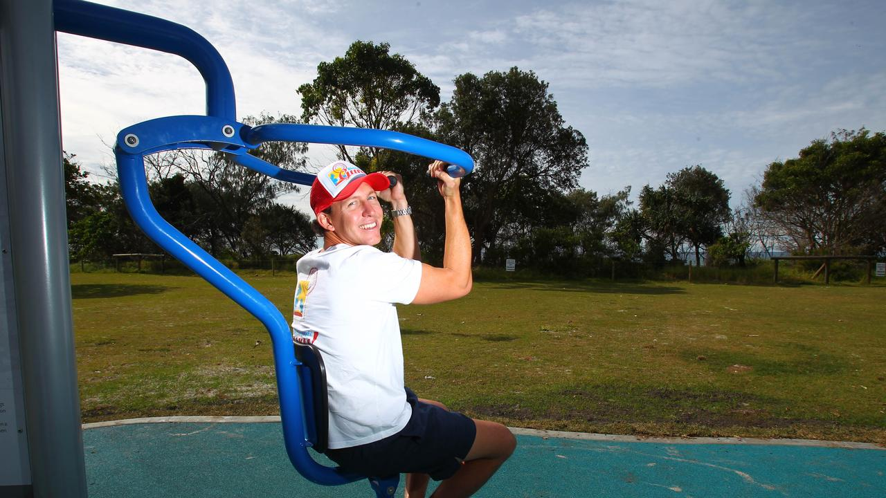 Kingscliff Personal Trainer Tim Jack Adams at the beach park fitness equipment and on the beach at Kingscliff.