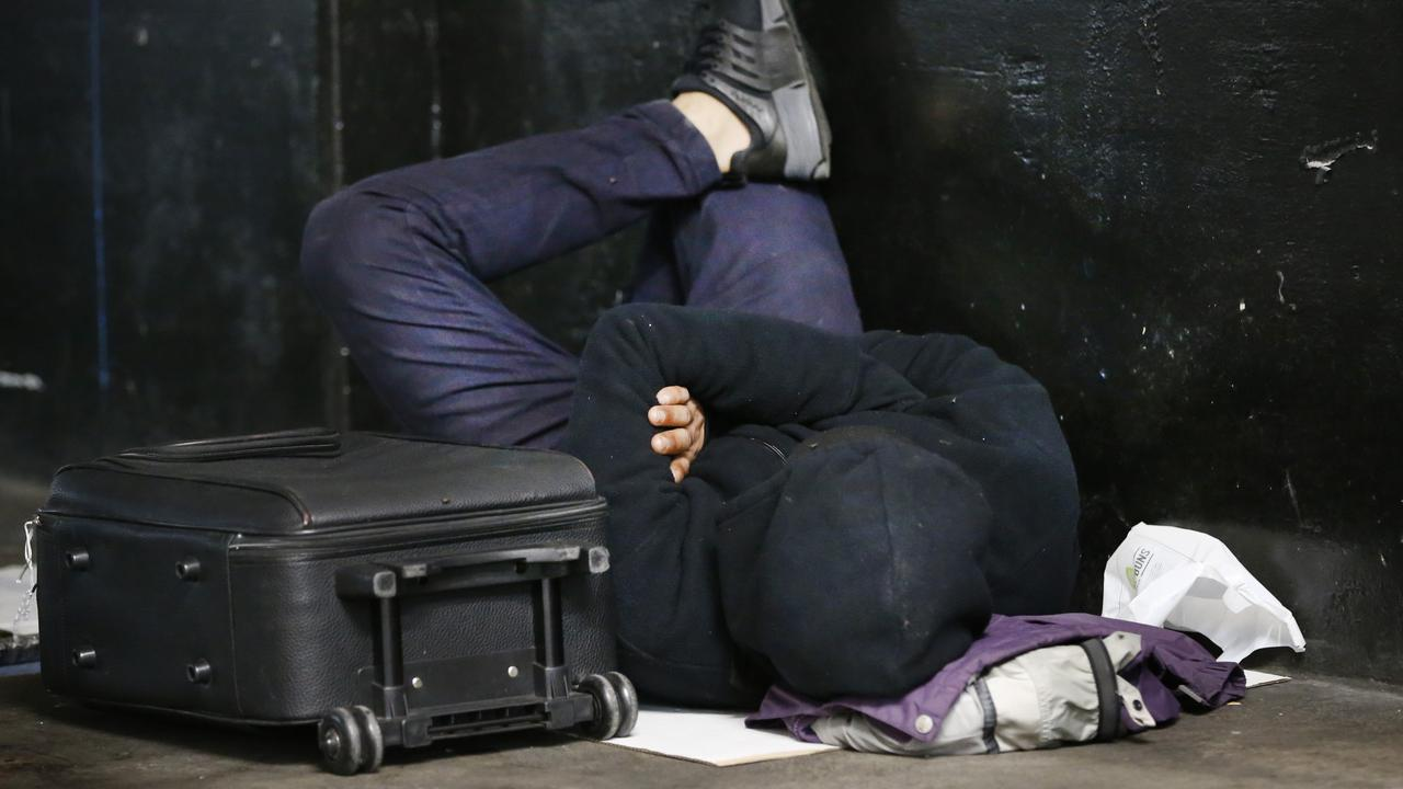A rough sleeper in Melbourne CBD. Picture: David Caird
