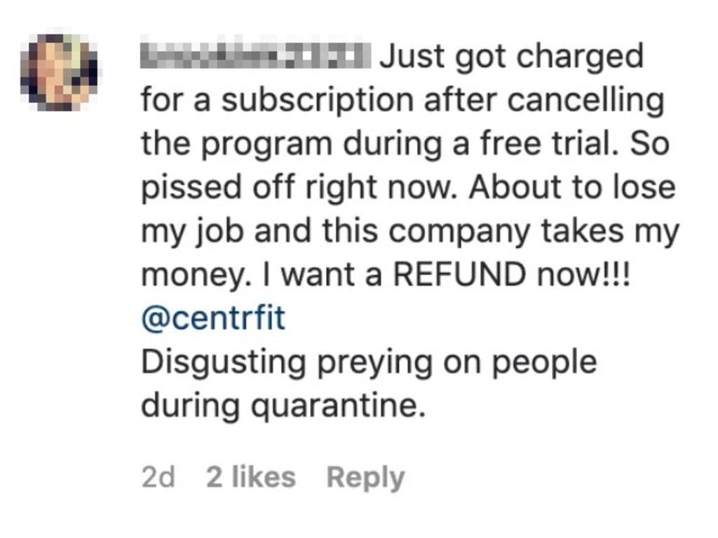 Users of Chris Hemsworth's Centr app have complained to have been charged a fee despite cancelling ahead of the free six-week trial.