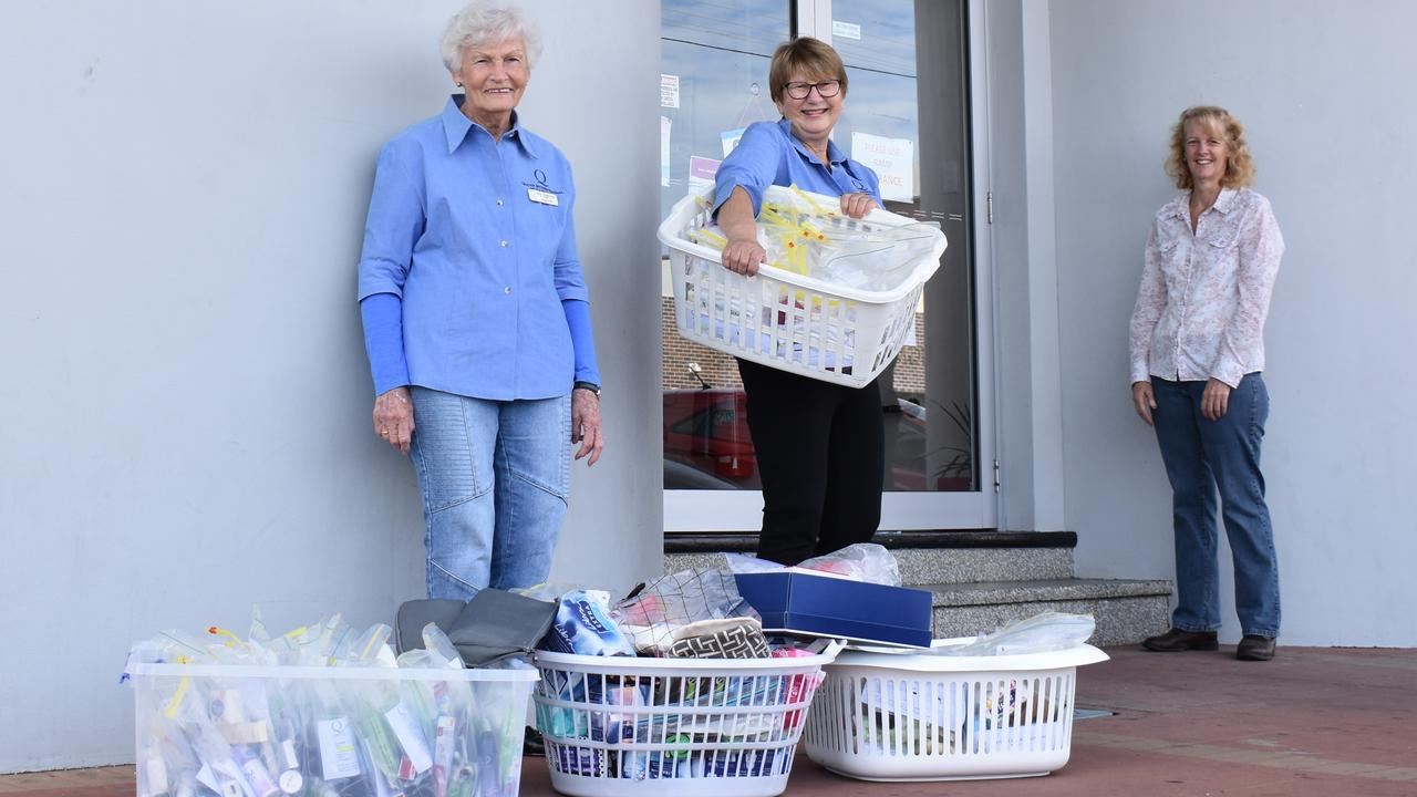 Casino Quota Club members Marlene Farrell and Jackie Larsson unloaded care packages at Momentum Collective at the Casino Neighbourhood Centre where admin officer Narelle Anderson was there to greet them. PIC: SUSANNA FREYMARK
