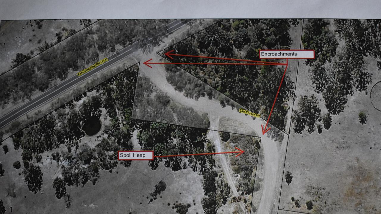 An overhead view of the property boundaries along Esk Forest Rd, including the encroachments and spoil heap.