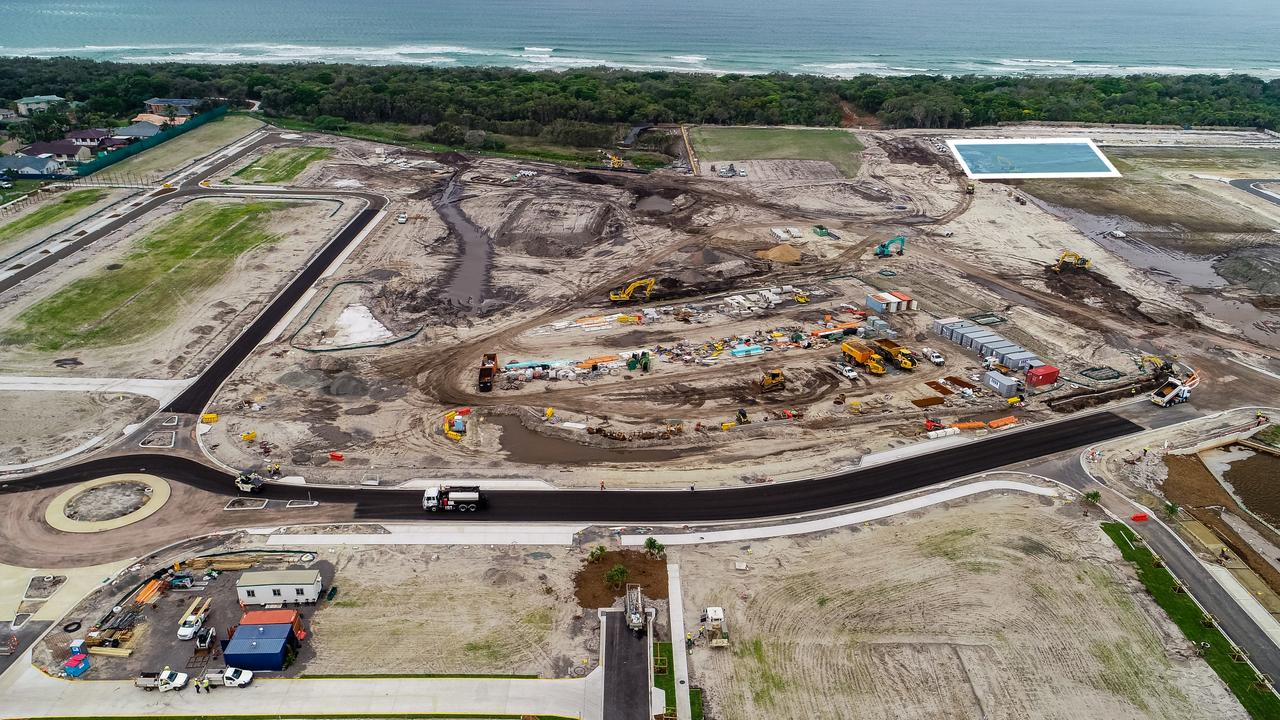 Aerial of Bokarina Beach with the site (outlined) which was purchased by RGD Property Group for a $70 million residential/retail development.