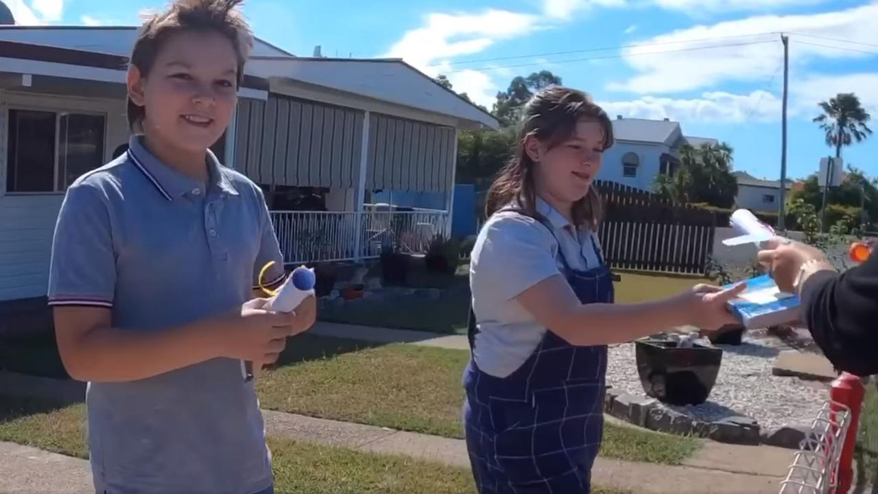 VIRAL VIDEO: Biggenden State School students receiving their care packages from teachers in their viral Facebook video. Picture: Contributed