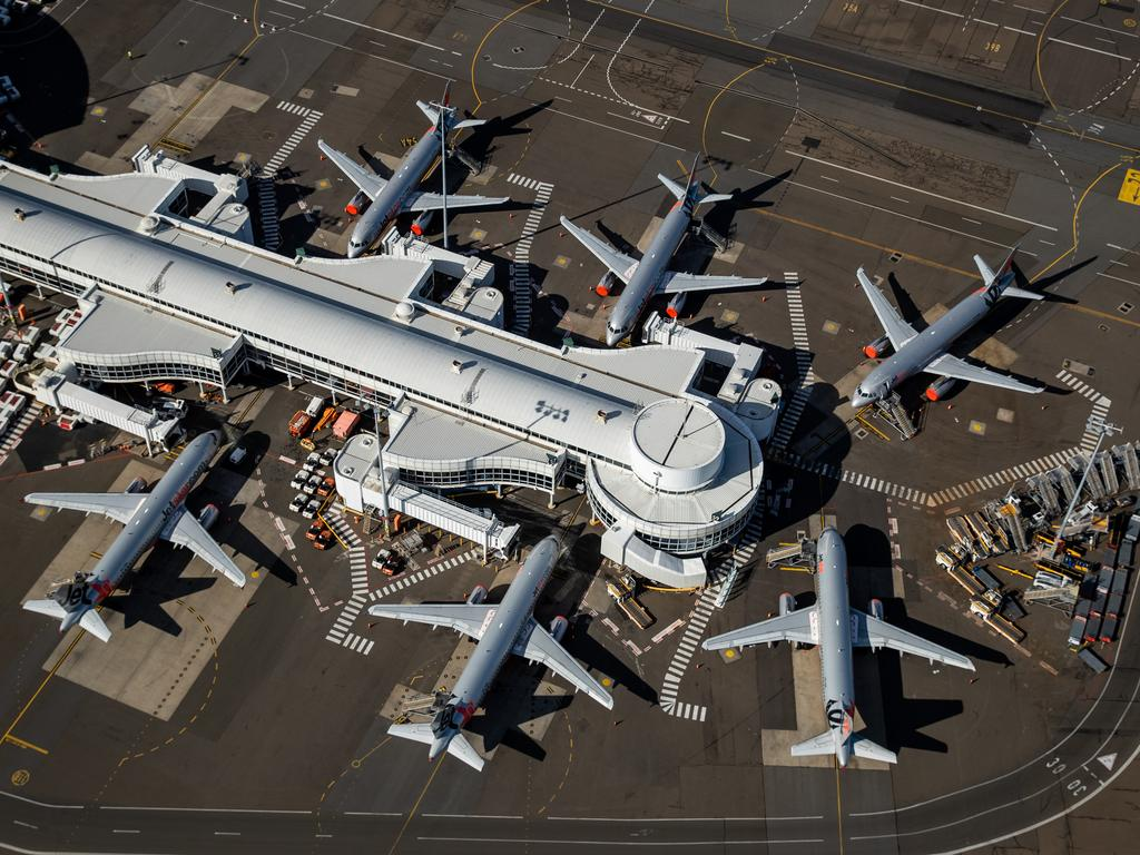 Jetstar planes grounded at Sydney Domestic Airport. Picture: Getty Images