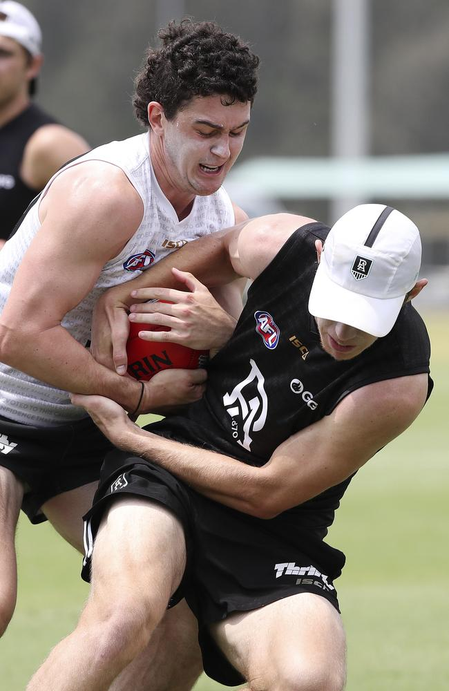 Darcy Byrne-Jones and Todd Marshall participate in a full-contact drill at training during the pre-season. Picture: Sarah Reed