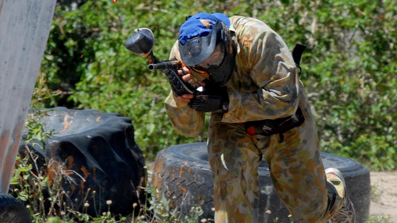 Paintball is a competitive team shooting sport in which players eliminate opponents from play by hitting them with spherical dye-filled gelatine capsules called paintballs that break upon impact.