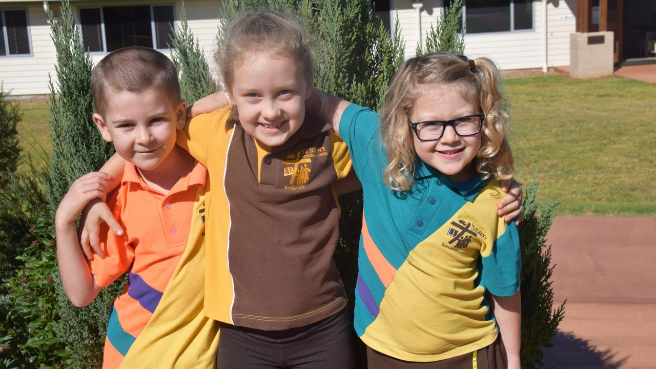 BACK TO SCHOOL: St Johns Year 1 students Josh, Matilda, and Chloe are excited to be back and playing with their friends. Photo: Madeline Grace