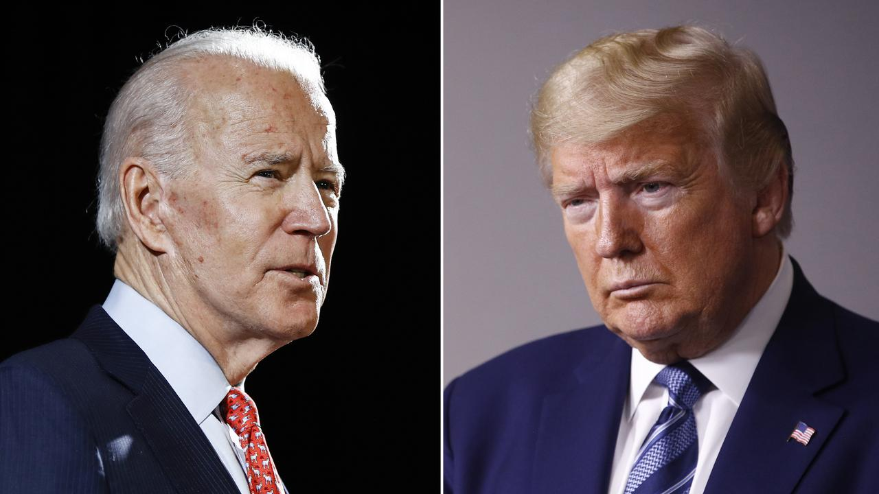 In this combination photo, former Vice President Joe Biden (left) speaks in Wilmington, Del., on March 12, 2020 and President Donald Trump speaks at the White House in Washington on April 5, 2020. Picture: AP.