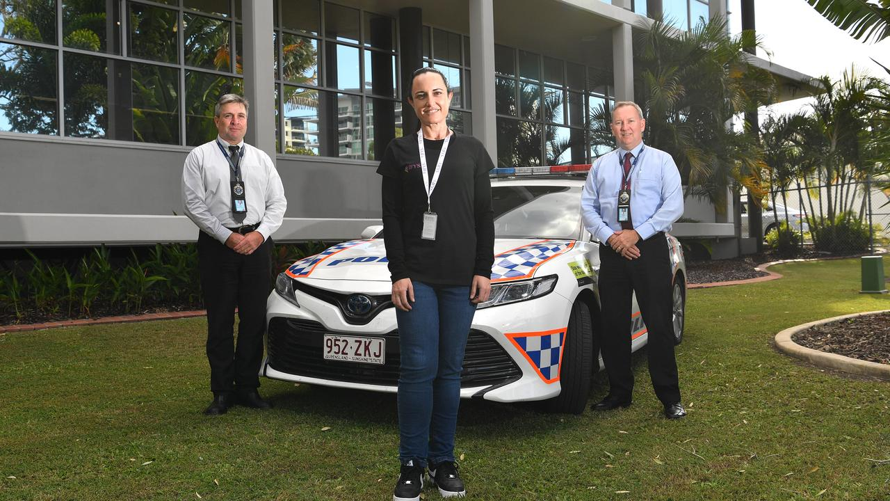 Detective Senior Sergeant Phil Hurst and Detective Senior Sergeant David Somerville with IFYS youth worker Krystle Brady. Photo: John McCutcheon / Sunshine Coast Daily